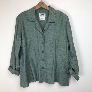 FLAX womens linen blouse shirt button down